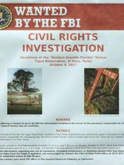 An FBI wanted poster targets the vandalism of the statue