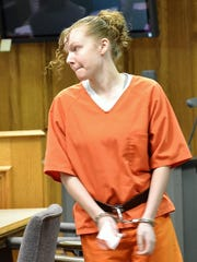 Jennifer Fendryk leaves Oconto County Circuit Court after a hearing on July 10.
