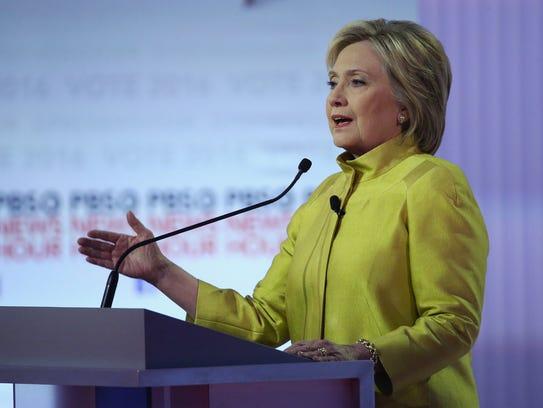 Hillary Clinton participates in the PBS NewsHour Democratic
