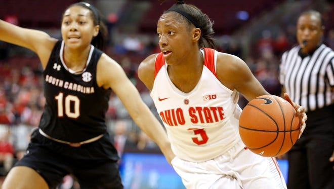 Nov 14, 2016; Columbus, OH, USA;  Ohio State Buckeyes guard Kelsey Mitchell (3) for drives by South Carolina Gamecocks guard Allisha Gray (10) during the first half at Value City Arena. Mandatory Credit: Joe Maiorana-USA TODAY Sports