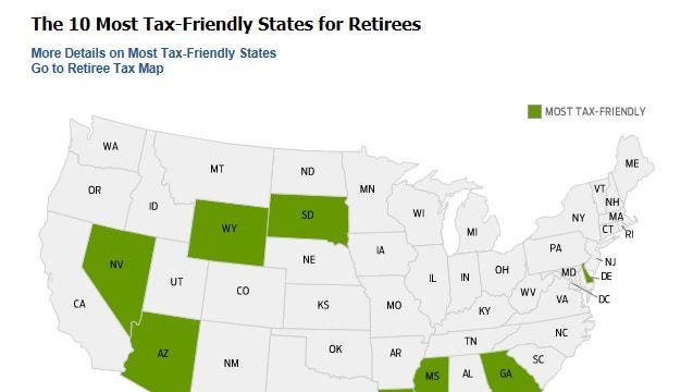 Kiplinger has ranked states as most tax-friendly for retirees.