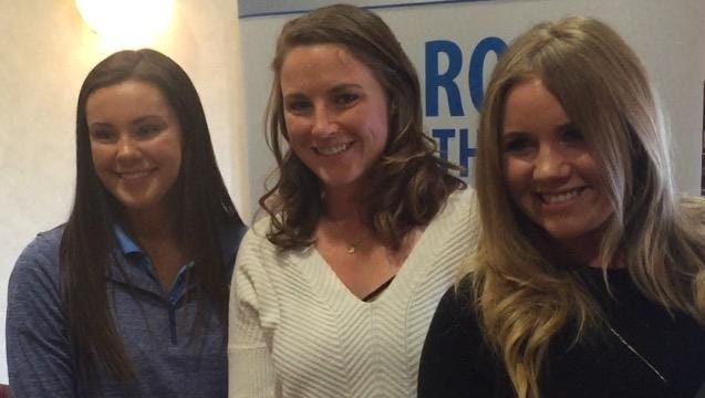 From left, Aquinas' Emily Doell, Webster native Tessa Teachman and Symetra Tour player Shannon Fish.