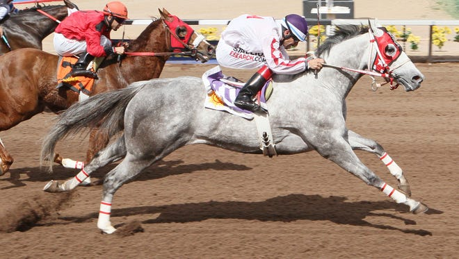 Jess Got Issues, shown here winning the Mesilla Valley Speed Handicap on March 8 at Sunland Park, is the morning-line favorite for today's Jess Burner Memorial Handicap.