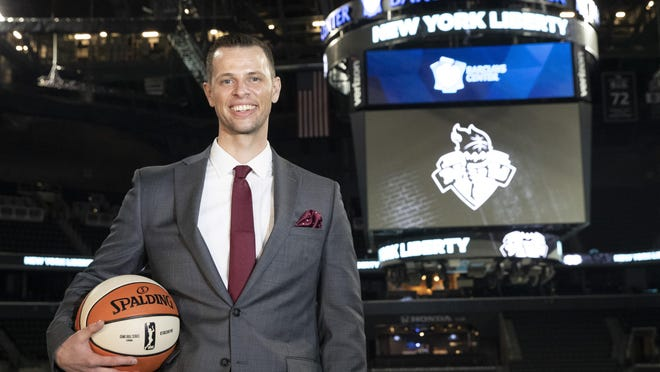 Walt Hopkins, the Liberty's new head coach at the Barclays Center. Hopkins had been an assistant for the Minnesota Lynx since 2017.