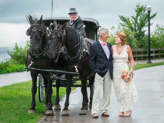 Carole Erbel and Frank Shumway were married on Mackinac