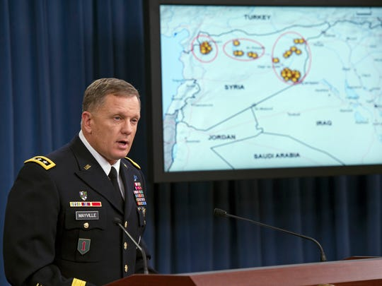 Army Lt. Gen. William Mayville, Jr., Director of Operations J3, speaks about the operations in Syria during a Sept. 23 news conference at the Pentagon.