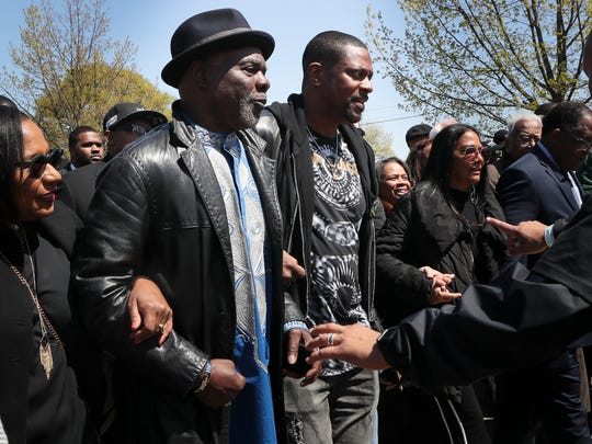 Actors Glynn Turman and Chris Tucker join the I Am A Man march to commemorate the 50th Anniversary of Martin Luther King Jr.'s assassination Wednesday, April 4, 2018, in Memphis, Tenn.