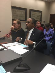 Sen. Troy Carter, D-New Orleans, testifies before the Senate Labor Committee on his bill that would create a state minimum wage.
