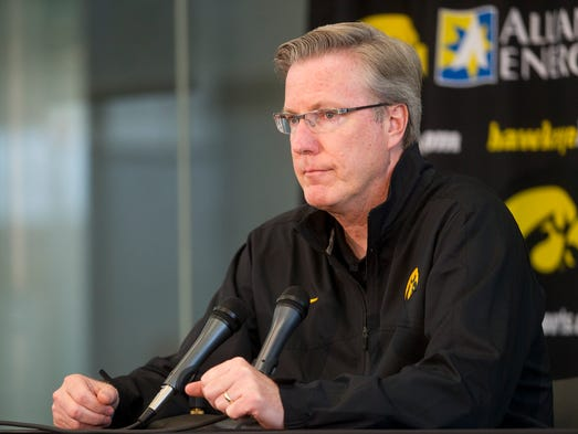 Iowa head coach Fran McCaffery responds to questions during media day at Carver-Hawkeye Arena on Thursday, Oct. 2, 2014.   David Scrivner / Iowa City Press-Citizen
