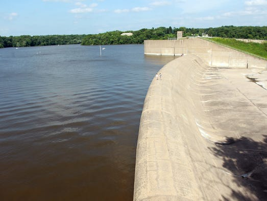 Water makes its way closer to the Coralville Lake spillway on Sunday, July 6, 2014. David Scrivner / Iowa City Press-Citizen