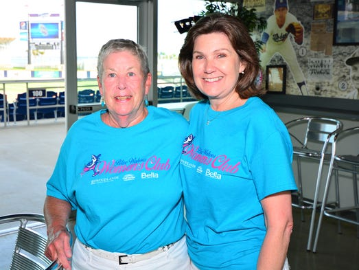 Jean Bricking and Brenda Ketterer at the Blue Wahoos Women's Club on June 19th.For more stories and photos, see the July issue of Pensacola Bella Magazine, and go to www.BellaMagazine.com.  <p></p>