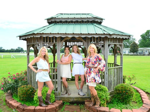 Mary Gamble, Irie Vance, Elise Moss and Lori Potts at the Aubrey Hill Equestrian Center. For this story and more stories and photos, see the August issue of Pensacola Bella Magazine, and go to www.BellaMagazine.com.