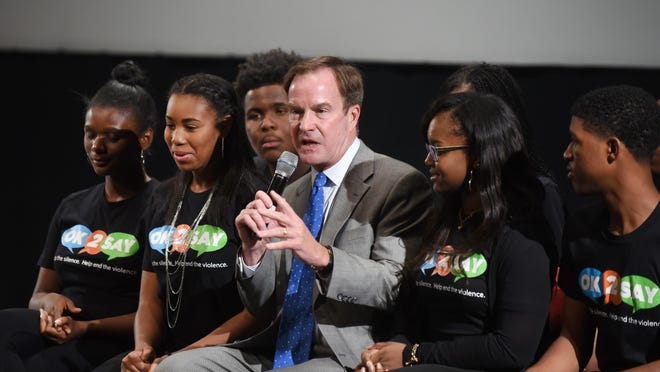 Michigan Attorney General Bill Schuette at Cass Tech High School where he discussed the OK2SAY program in 2015.