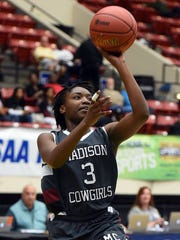 Madison County's Josie Long (3) goes up for two against Port St. Joe during their class 1A semifinal in the FHSAA Girls Basketball Finals at The Lakeland Center in Lakeland, FL on Tuesday February 16, 2016. Madison County defeated Port St. Joe 53-48 to advance to the final.