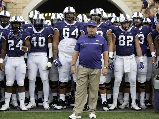 FILE - In this Sept. 3, 2016, filephoto, TCU head coach Gary Patterson waits to lead his team onto the field before a game against South Dakota State in Fort Worth.