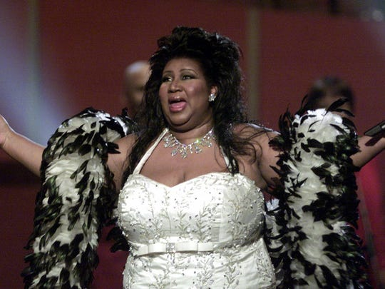 "Aretha Franklin opens the ""VH1 Divas 2001: The One and Only Aretha Franklin"" tribute Tuesday, April 10, 2001, in New York."