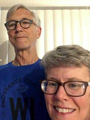 Bill Lamers and his wife Janet take a selfie at home