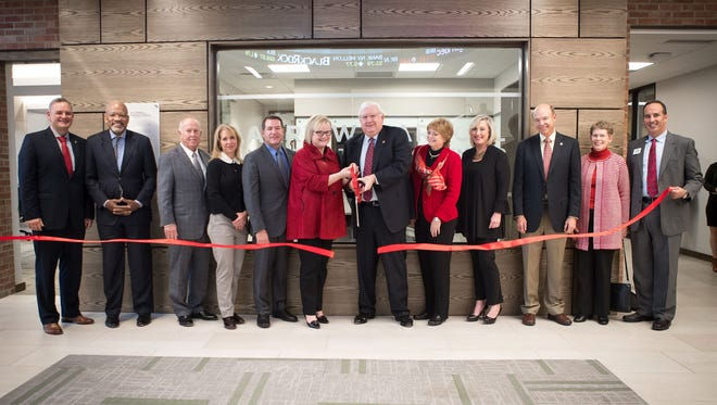 Larry W. Carroll Financial Trading Center at ribbon cutting ceremony