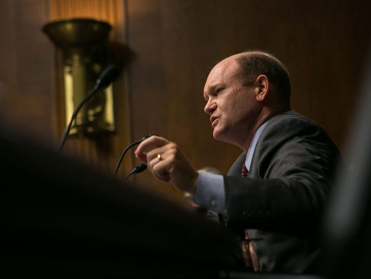 Sen. Chris Coons questions witnesses during a September 2016 Senate Judiciary Committee hearing.