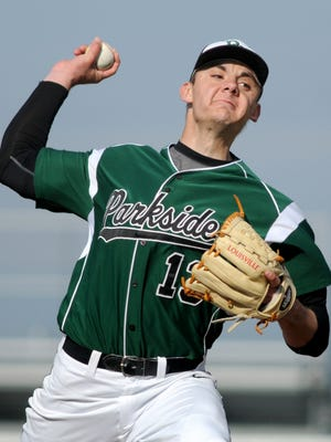 Parkside's Hunter Parsons throws a pitch during play at Stephen Decatur on Tuesday. Parkside's Hunter Parsons throws a pitch during play at Decatur Tuesday afternoon.