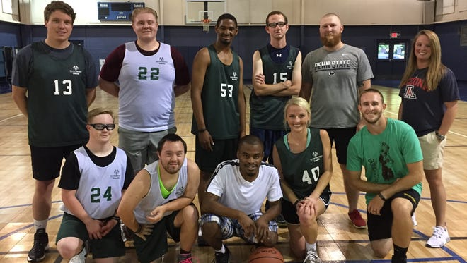 Members of the Unified basketball team that will represent South Carolina in the 2018 Special Olympics USA Games July 1-6 in Seattle, Washington, are (from left), front row, Zach Ward, Rick Green, Courtney Armstrong, Whitney Trexler and Josh Wall; and back row, Walker Griffith, Lucas Ward, Jon Barber; Jacob Ingram, Austin Hester and coach Brittany Bynum.