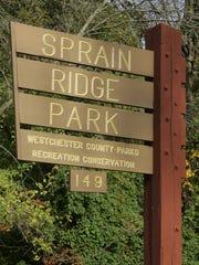 The exterior sign for the Sprain Ridge Park off Jackson