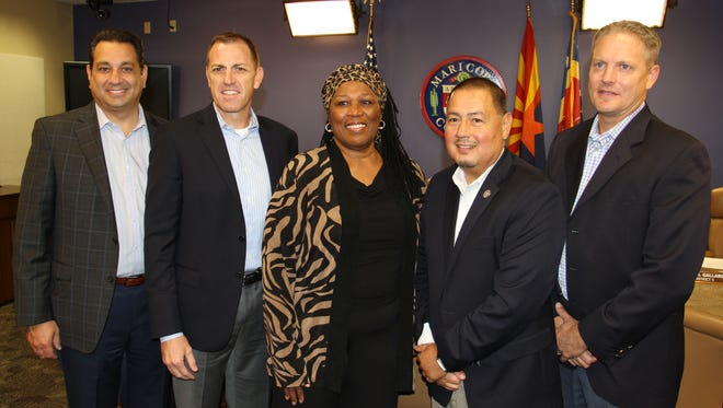 Geraldine Peten and Maricopa County Supervisors Steve Chucri (from left), Denny Barney, Steve Gallardo and Clint Hickman after Peten's  appointment to the Arizona House of Representatives on Aug. 16, 2017.