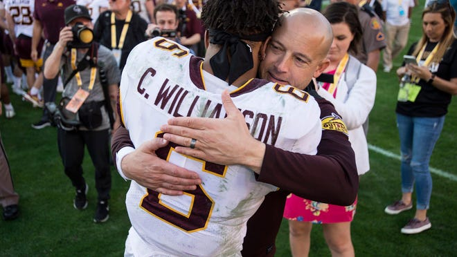 Minnesota head coach P.J. Fleck hugs Gophers defensive back Chris Williamson during the Outback Bowl on Jan. 1. Fleck is drawing rave reviews from Minnesota recruits about his handling of the unrest after George Floyd's death in late May.