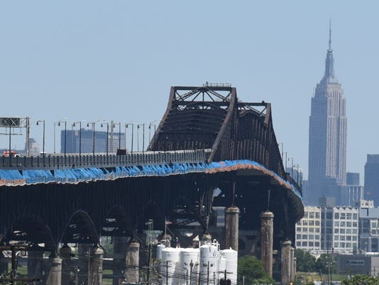 The Pulaski Skyway while work is being done to improve the roadway here, connecting Kearney and Jersey City.