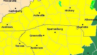 The areas in yellow are under a Tornado Watch for much of Wednesday, while those in green should look out for flooding and severe storms.