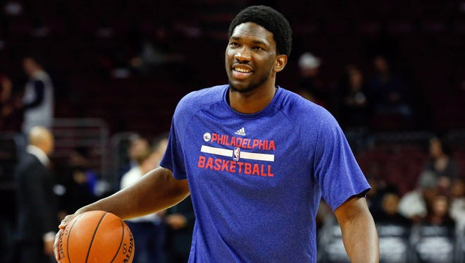 Philadelphia 76ers injured center Joel Embiid during warm ups before a game against the Cleveland Cavaliers