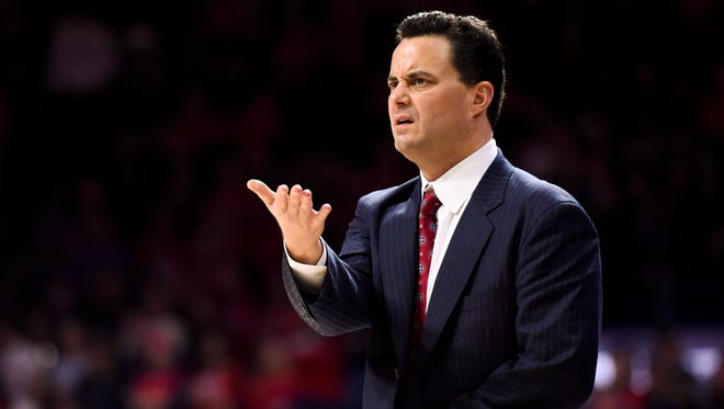 Jan 16, 2016; Tucson: Arizona Wildcats head coach Sean Miller reacts to a call during the first half against the Washington State Cougars at McKale Center. Arizona won 90-66.