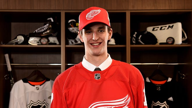 Keith Petruzzelli poses for a portrait after being selected 88th overall by the Detroit Red Wings during the 2017 NHL draft at the United Center on June 24, 2017 in Chicago.