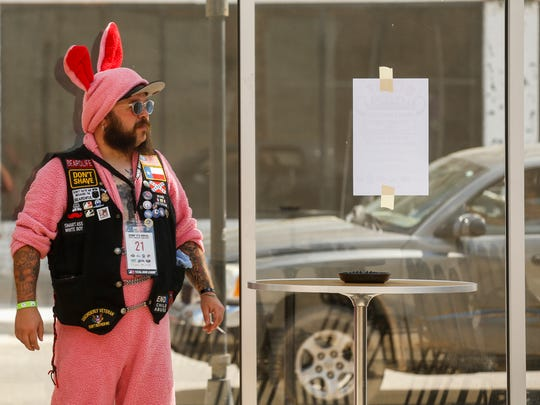 """Josh """"Bearfoot Brains"""" Thompson, of Fort Worth, TX, during the 9th Annual Beard & Moustache Competition for Charity hosted by the  Queen City Beard & Moustache Federation at the 319 Downtown Event Center on Saturday, May 5, 2018."""