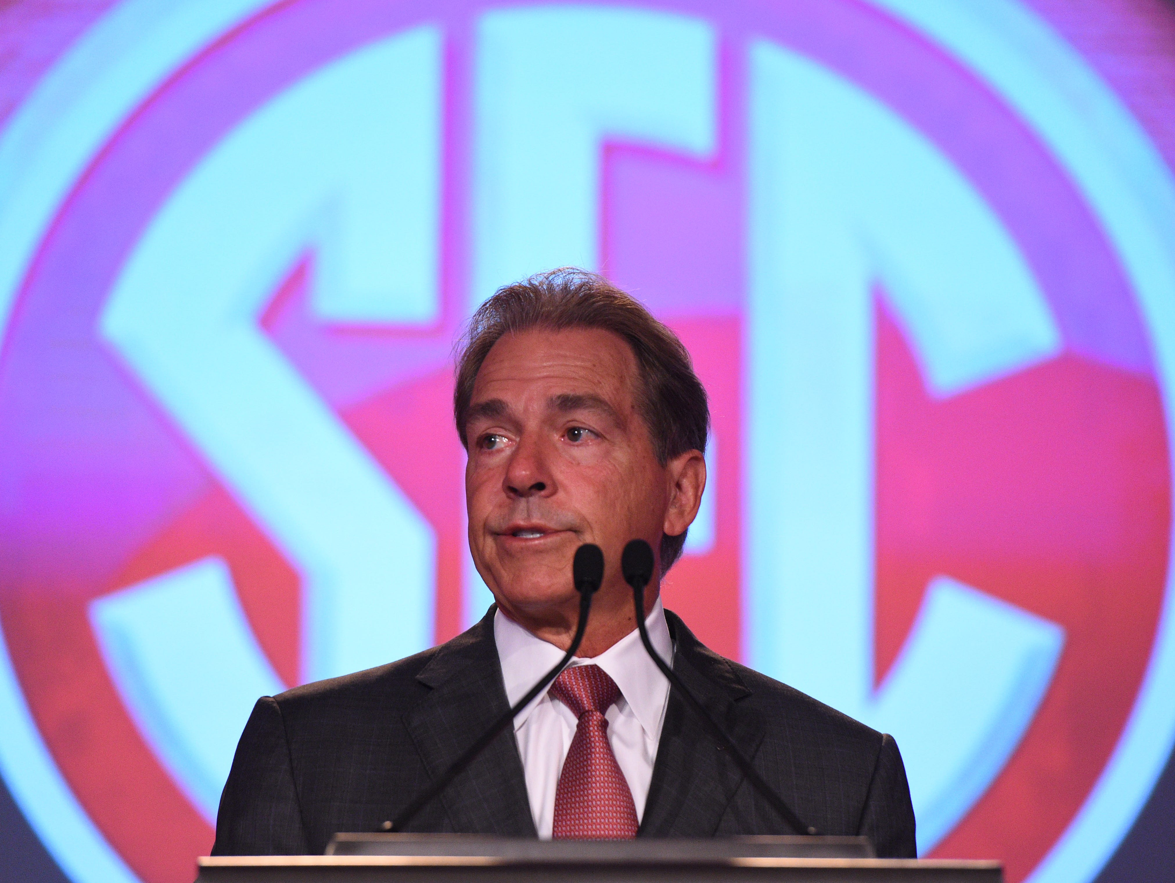 Jul 12, 2017; Hoover, AL, USA; Alabama Crimson Tide head coach Nick Saban speaks to media during SEC Media Days at the Hyatt Regency Birmingham-The Winfrey Hotel. Mandatory Credit: Adam Hagy-USA TODAY Sports