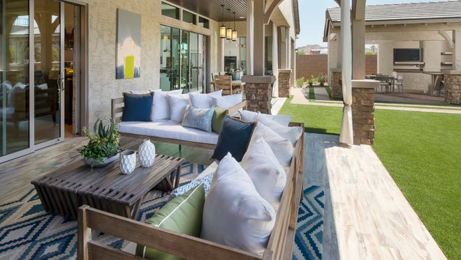 The back patio of a home in the Querencia luxury community in Peoria.