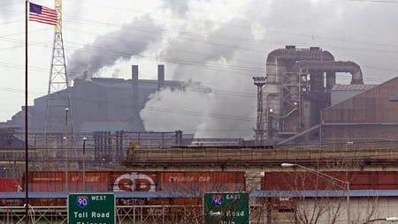 U.S. Steel's Gary works looms over the city's northern horizon.