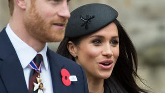 Meghan Markle and Prince Harry attend an Anzac Day service at Westminster Abbey on April 25, 2018 in London, England. (Photo by Eddie Mulholland - WPA Pool/Getty Images)
