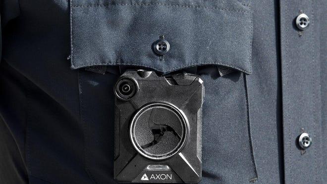 West Palm Beach police officer Seth Buxton wears a body cam Thursday, July 9, 2020.