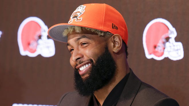Browns receiver Odell Beckham Jr. answers questions during a news conference.