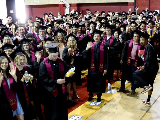 Graduates line up before heading to the Willamette University College of Liberal Arts Commencement Ceremony at Willamette University in Salem on Sunday, May 13, 2018.
