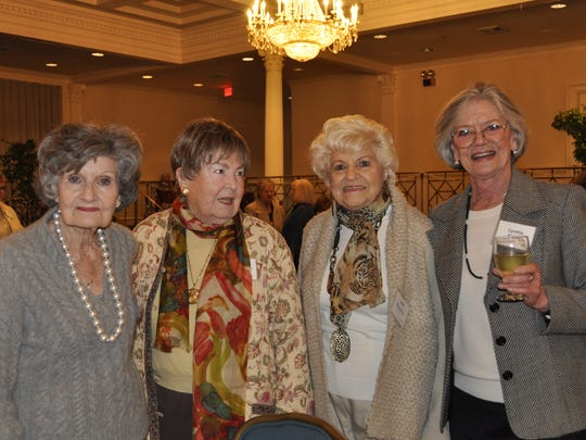 From left, Retired Officers Wives Club members Maude Wise, Caroline Barmettler, Jean Houghtby, and Cynthia Harrell in The Maxwell Club Ballroom for the organization's 51st anniversary luncheon.