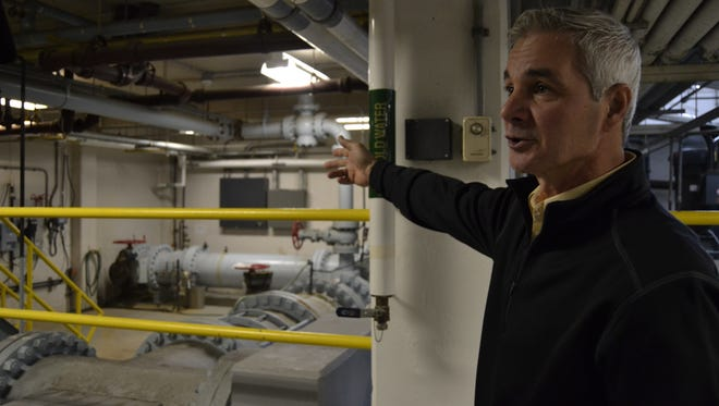 Joe Yannuzzi, superintendent of Binghamton's water and sewer department, gives a tour of the city's water filtration plant on Wednesday.
