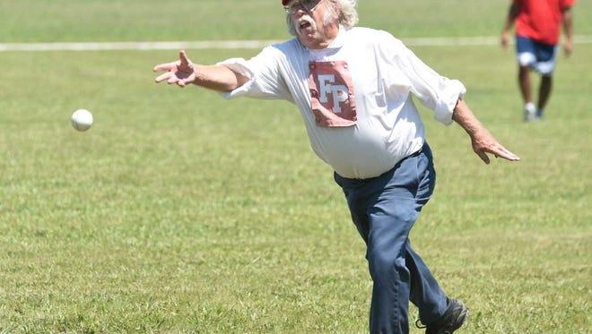 Jim Apple tosses a pitch at Pemberton Park on July 9, 2017.