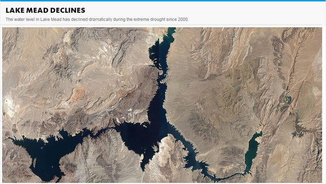 Lake Mead is seen in August 1985 when the lake had 24.8 million acre-feet of water and Lake Mead in August 2010 when the lake had 10.35 million acre-feet of water.