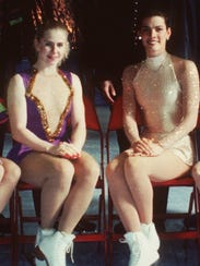 Tonya Harding and Nancy Kerrigan posed for a photo Jan. 9, 1994, during U.S. Figure Skating Championships in Detroit. The photo was taken three days after the attack on Kerrigan, who was unable to compete for the championship. Harding won the title.