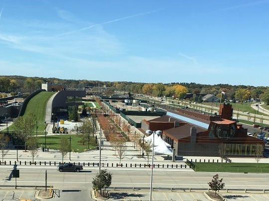 The Titletown District. The TitletownTech development would be built on the other side of the Hinterland Brewery.