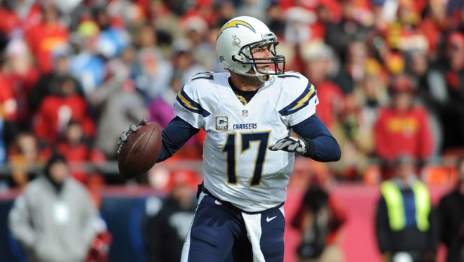 San Diego Chargers quarterback Philip Rivers (17) throws a pass during the first half of the game against the Kansas City Chiefs at Arrowhead Stadium in Kansas City, Mo. on Nov. 24, 2013.
