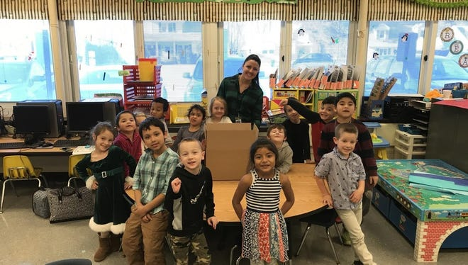 Students in Hayley Vicedomini's Netcong Elementary School kindergarten class collect goods to give to their adopted soldier.