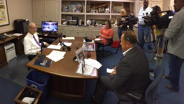 Ridgeland Mayor Gene McGee  talks to media.